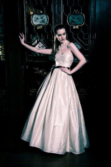 Silk champagne wedding gown, by CicadaBridal on etsy.com