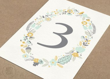 Table numbers, by ArtsyDesignCo on etsy.com