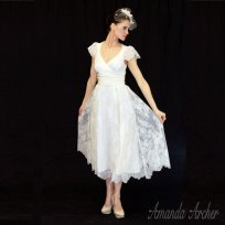 Tea-length wedding dress, by AmandaArcher on etsy.com