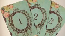 Vintage-style table numbers, by Sweetturquoise on etsy.com