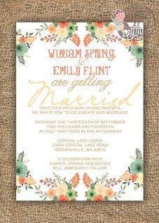 Wedding invitation, by FPStationary on etsy.com