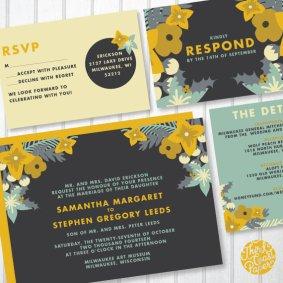 Wedding invitation, by lizcarverdesign on etsy.com