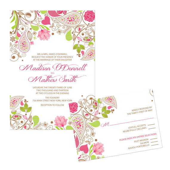 wedding invitation in apple green and light pink by paperpartyco on