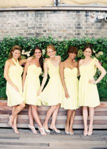 Yellow bridesmaid dresses, by harsuccthing on etsy.com