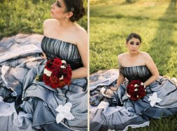 Black and white bridal gown, by WeddingDressFantasy on etsy.com