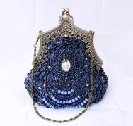 Blue beaded clutch purse, by annasinclair on etsy.com