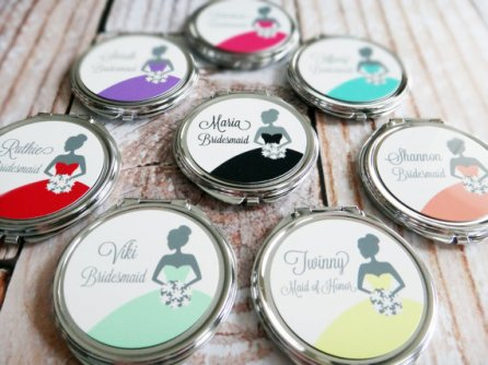 Bridesmaid gift - personalised mirrors, by SpotlightMirrors on etsy.com