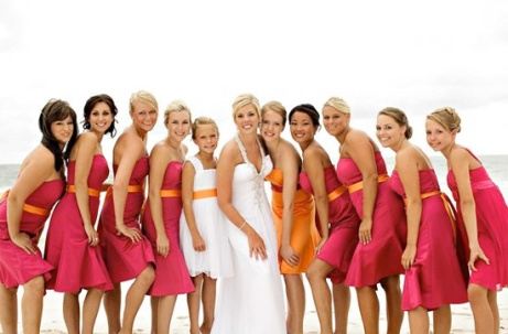 Bridesmaids in hot pink and orange {via ipunya.com}