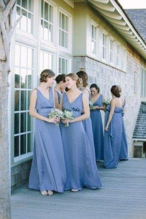 Bridesmaids in periwinkle dresses {via societybride.com}
