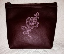 Bungundy and pink leather clutch, by AlmaLeather on etsy.com