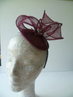 Bungundy mother-of-the-bride (or groom) fascinator, by susansteiner on etsy.com