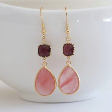 Burgundy and pink earrings, by ellejewels on etsy.com