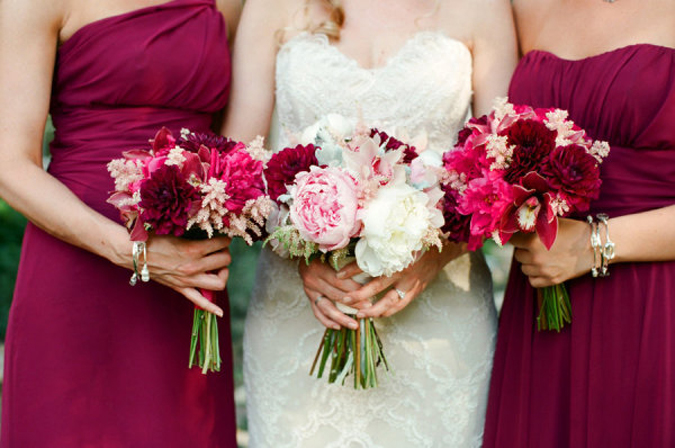 Burgundy And Light Pink Wedding
