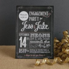 Chalkboard-style engagement party invitation, by MegCreativeDesign on etsy.com
