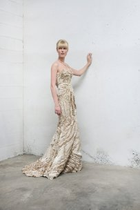 Champagne couture bridal gown, by AnyaDionne on etsy.com