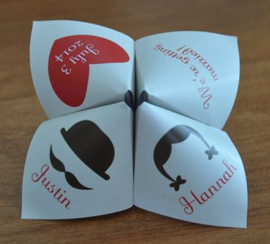 Cootie catcher wedding invitation, by MaxRileyDesigns on etsy.com