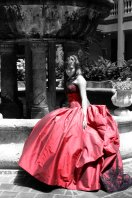 Crimson-red bridal gown, by lilsocialbutterflies on etsy.com
