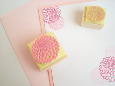 Dahlia flower stamp, by JapaneseRubberStamps on etsy.com