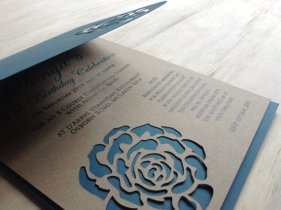 Die-cut wedding invitation, by TheFindSac on etsy.com