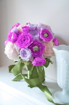 Fabric and paper bouquet, by AlternativeBlooms on etsy.com