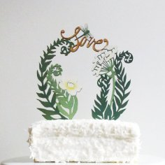 Fern and flower cake topper - www.etsy.com/shop/ByMadelineTrait