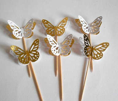 Gold and white butterfly cupcake toppers - www.etsy.com/shop/LuxOnline