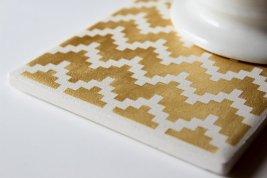 Gold and white chevron coasters - www.etsy.com/shop/theCoastal