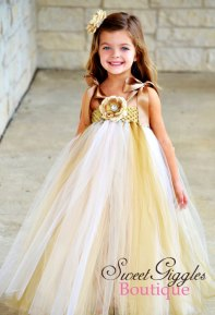 Gold and white flower girl dress - www.etsy.com/shop/SweetGigglesBoutique