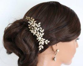 Gold and white hair comb - www.etsy.com/shop/LuluSplendor