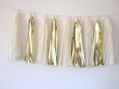 Gold and white tassel garland - www.etsy.com/shop/APartyInTheHamptons
