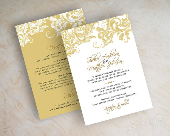 Beautiful Gold And White Wedding Invitations Pictures - Styles ...