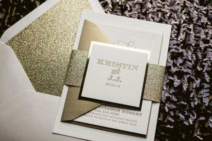 Gold and white wedding invitation - www.etsy.com/shop/JustInviteMe