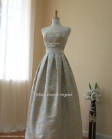 Gold brocade bridal gown, by EllanaCouture on etsy.com