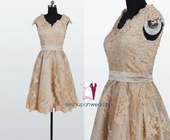 Gold lace reception dress, by wishuponwedding on etsy.com