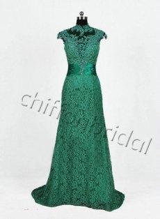Green bridal gown, by chiffonbridal on etsy.com