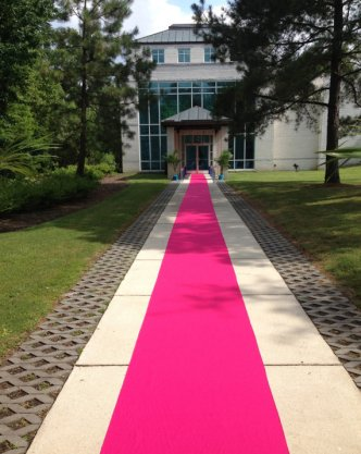Hot pink aisle runner, by sashesforlove on etsy.com