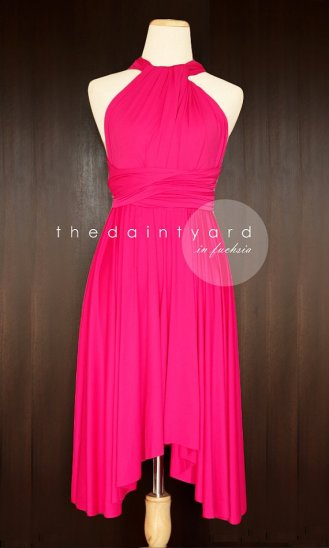 Hot pink bridesmaid dress, by thedaintyard on etsy.com
