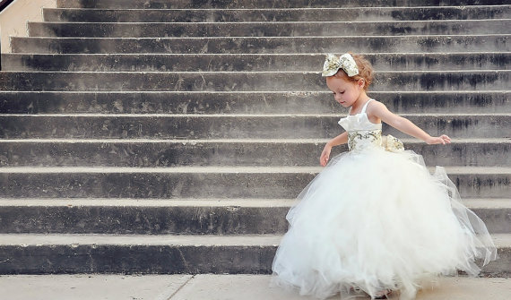 Ivory and gold flower girl dress - www.etsy.com/shop/alorasafari