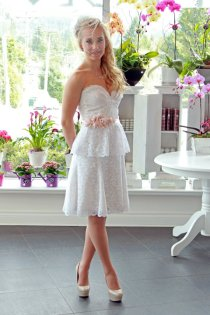 Lace peplum reception dress, by PureMagnoliaCouture on etsy.com