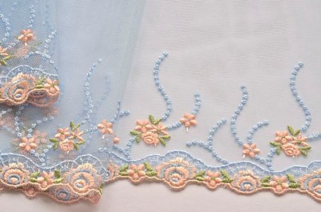Light blue and peach embroidered tulle, by VintageToLiveBy on etsy.com