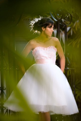 Light pink and white reception dress, by TheLittleWhiteDress on etsy.com