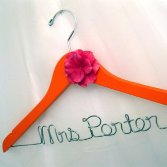 Orange and pink customised wedding dress hanger, by MySuspendedMoments on etsy.com