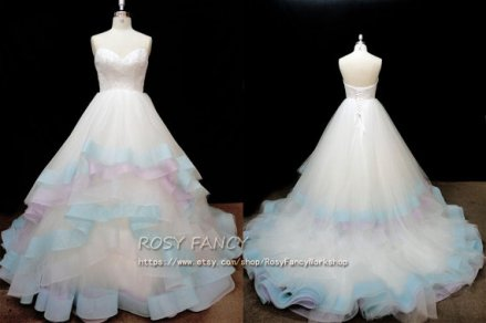 Pastel bridal gown, by RosyFancyWorkshop on etsy.com