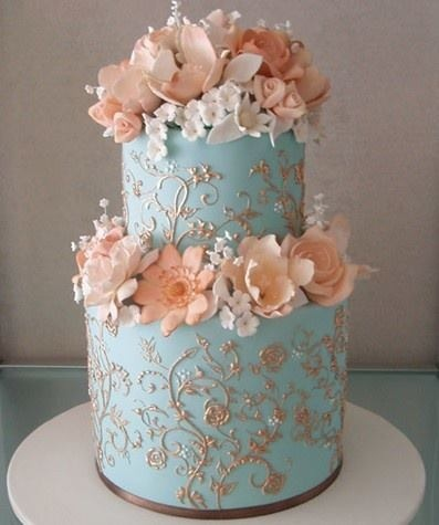 peach and light blue wedding cake and blue wedding cake the merry 18131