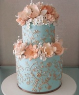 Peach and blue wedding cake