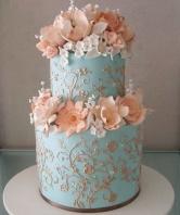 Peach and blue wedding cake