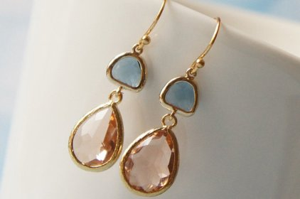 Peach and light blue earrings, by LiLyCrystal on etsy.com