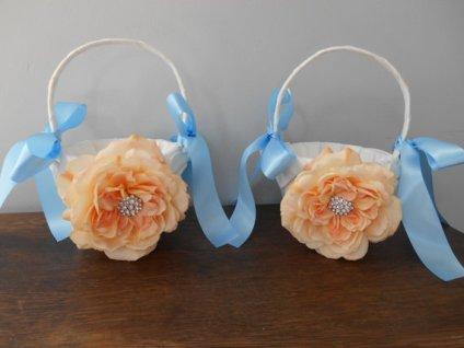 Peach and light blue flower girl baskets, by astylishdesign on etsy.com