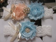 Peach and light blue garters, by FalabellaBridal on etsy.com