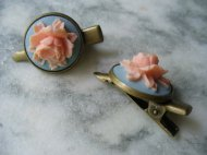 Peach and light blue hair clips, by DLAbeaddesign on etsy.com